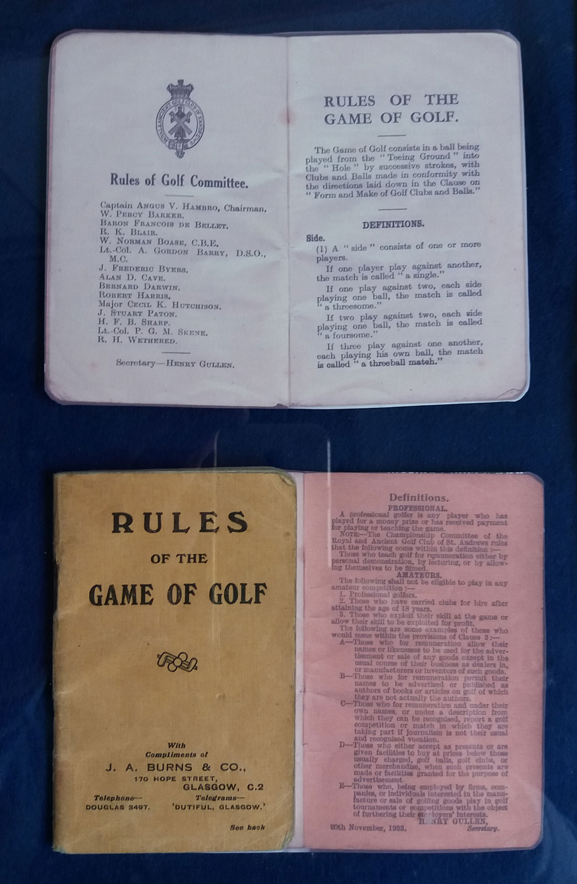 Images of a Golf Rules Book book dated 20th. November, 1933
